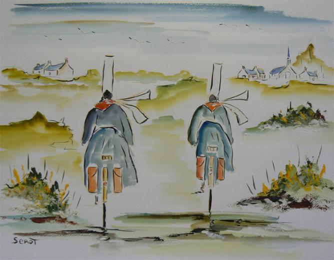 A vélo Réf 0102 Aquarelle 65 x 50