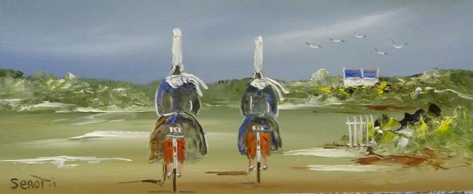 Bigoudènes à vélo Réf 0013 Bois 50 x 22 Instinctif