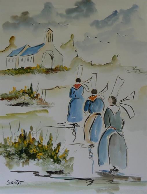 Bretonnes vers la chapelle  Réf 0103 Aquarelle 65 x 50