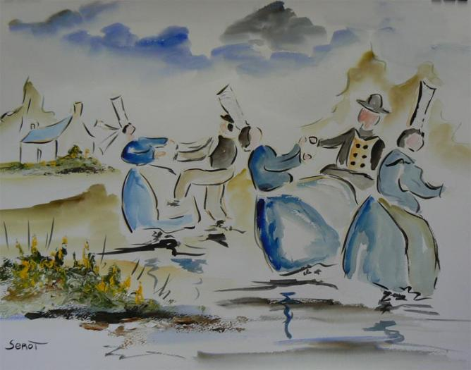 Danse bretonne Réf 0107 Aquarelle 65 x 50