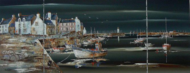 Gros temps sur Port-haliguen en Bretagne Réf 0033 triptyque