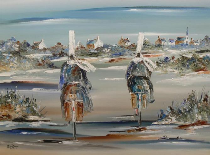 Les bretonnes à vélo Réf 0011 73 x 54