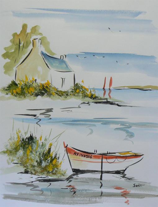Maison dans le golfe du Morbihan Réf 0109 Aquarelle 65 x 50