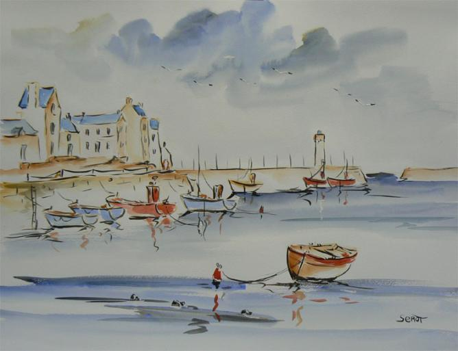 Port-haliguen Réf 0110 Aquarelle 65 x 50