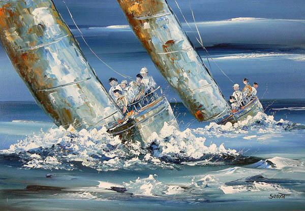 Régate bleue Réf 0002 40 x 80