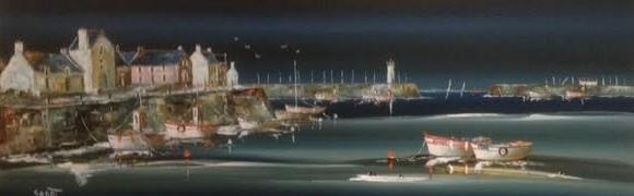 Port-haliguen par gros temps  Format 120 x 40  (TOILE VENDUE)