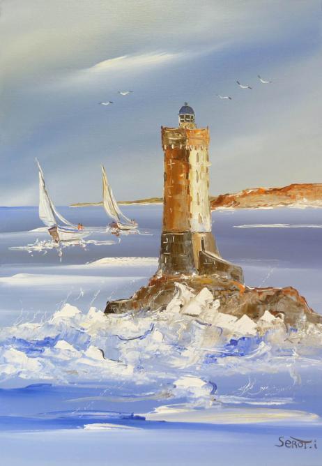 Voilier et phare de la Vieille Réf 0066 65 x 46 Instinctif
